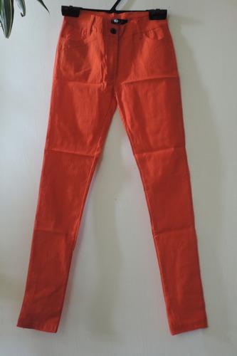 pantalón chupin naranja talle s. super elastizado, strech.