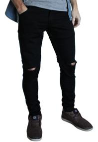 Pantalon Negro Roto Hombre Chupin Elastizado exdCBro