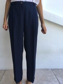 Pantalon Vestir Azul Marino Pantalones De Mujer Tiro Medio