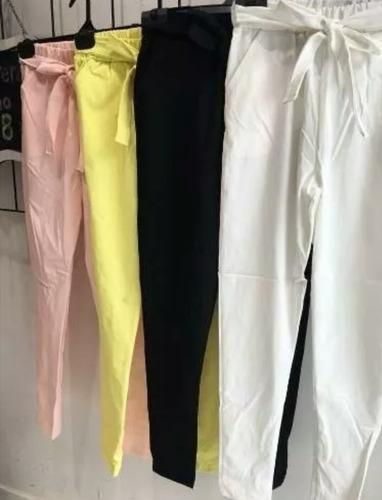 pantalón con lazo bengalina talle 4 l rosa y negro