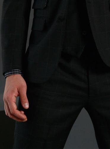 pantalón cuadro gris galo bertin