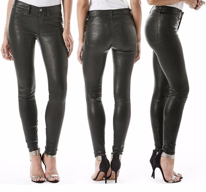 Pantalones largo de cuero imitación. Para mujer adulto. Mujer Pantalones de Cuero - Moda Cómodo Cintura Elástico Skinny Leggings Cintura Media Primavera Otoño Casuales Pantalones Lápiz Polainas.