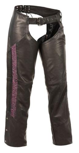 pantalón de cuero milwaukee p/damas ligero c/raya púrpura xs