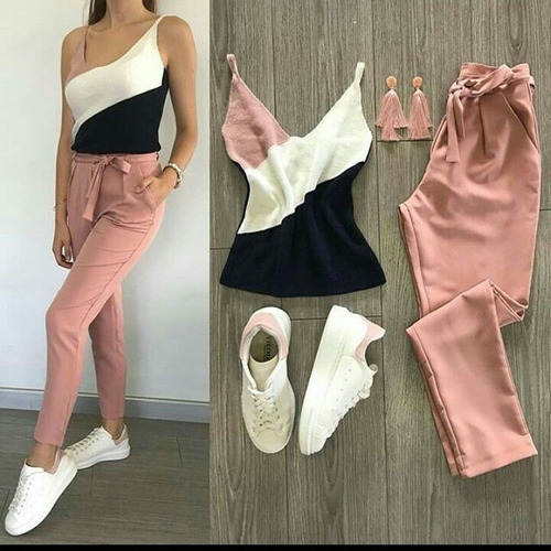 pantalon de dama de lazo mono joggers elegante moda vestir