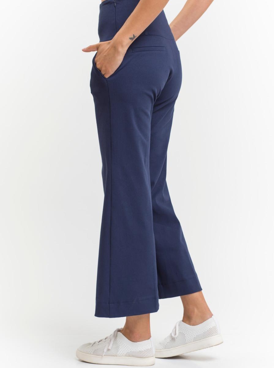pantalón de gabardina elastizada azul tiro alto ancho giacca. Cargando zoom. 224cabae8f47