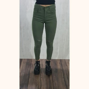 Pantalon Tiro Gabardina Mujer Alto Verde Elastizado Osaka De Yf76ybg