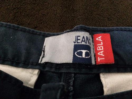 pantalon de gabardina pinzado tabla azul