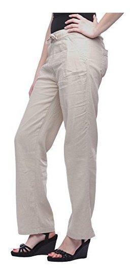Pantalon De Lino Con Fondo Ancho De Missy Para Mujer Con Bol