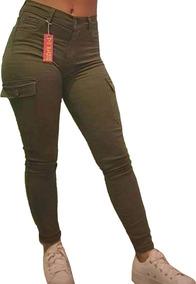 Pantalon De Mujer Cargo Gabardina Chupin Elastizado