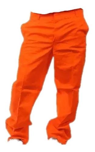pantalón de trabajo naranja gabardina tipo grafa 8 oz .