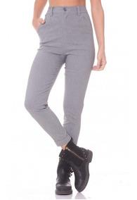sección especial diseñador de moda venta barata ee. Pantalón De Vestir Gris Bengalina Tiro Alto Mujer