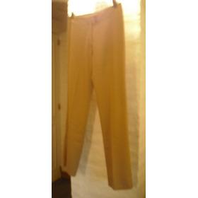 Pantalon De Vestir, Mujer, Verano, Lino, Color Marron,cod. 6