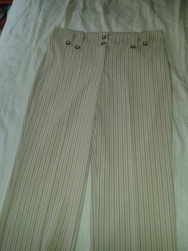 pantalón de vestir santory beige a rayas negras mediano
