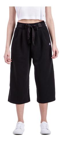 pantalon ess cropped negro mujer le coq sportif