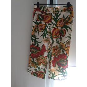 Pantalon Estampado De Gabardina Verano. Talle 2