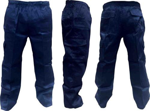 pantalón gabardina cargo azul marino - negro.
