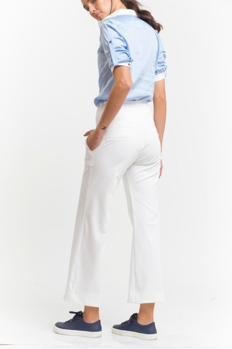 pantalón gabardina elastizada blanco tiro alto ancho giacca. Cargando zoom. 2ccf7f6c89d7