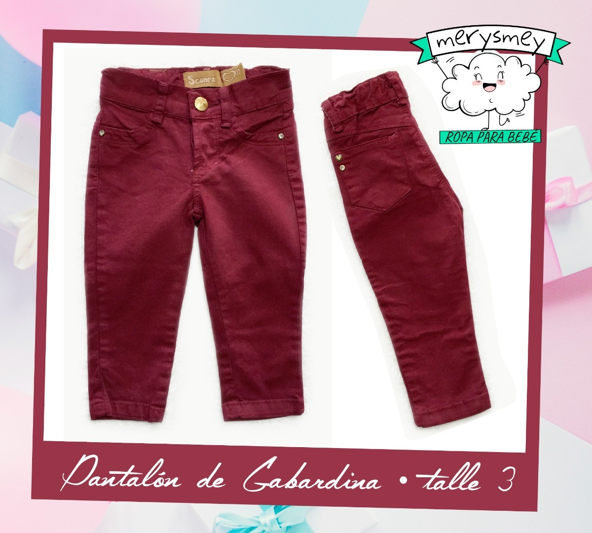 763041037 Pantalón Gabardina Para Bebas De 6 A 9 Meses - $ 250,00 en Mercado Libre