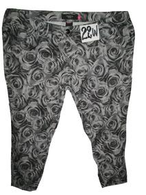 De Estampado Pantalon Gris 22w42mex Tipo Rosas Crop Talla wvmON8n0