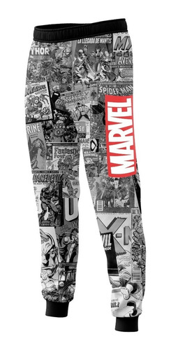 pantalón historietas marvel blanco y negro n1 full print
