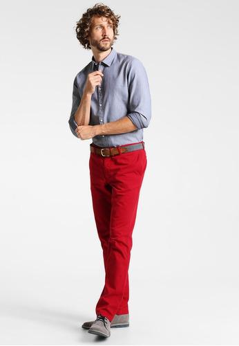 pantalon hombre slim fit rojo dril clasico