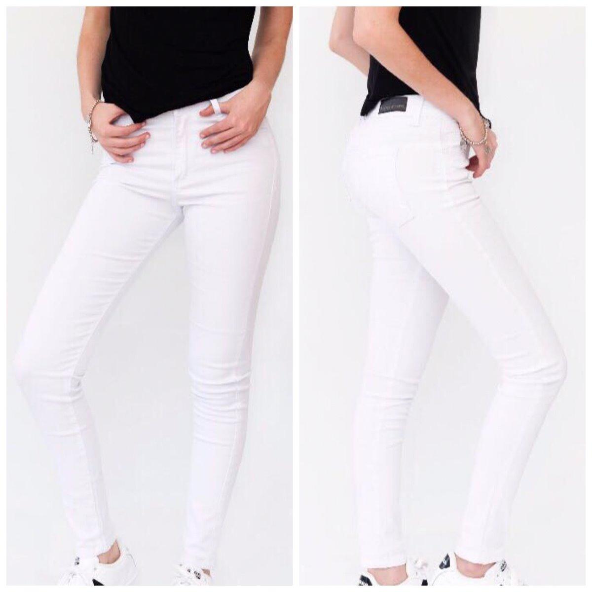 e5b20e976acde pantalon jean blanco mujer denim chupin elastizado tiro alto. Cargando zoom.