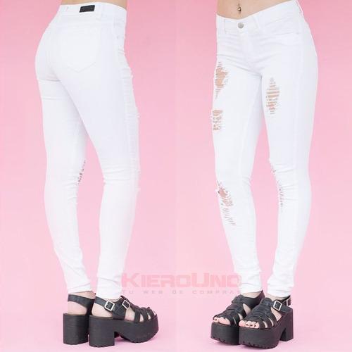 pantalon jean blanco mujer gabardina elastizado roturas