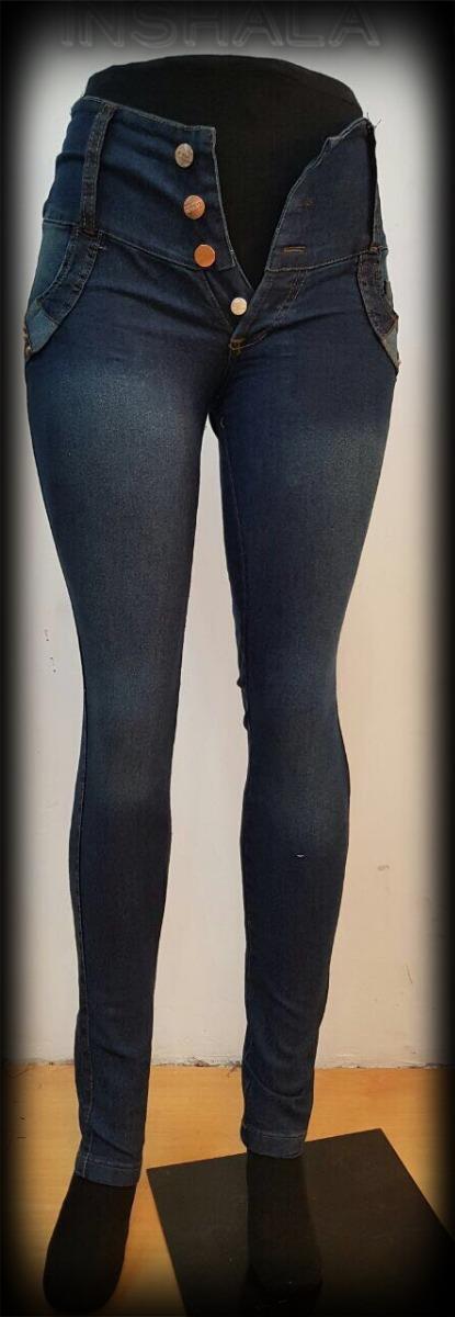 6cec34722 Pantalon Jean Elastizado Dama Cintura Ancha Calce Perfecto
