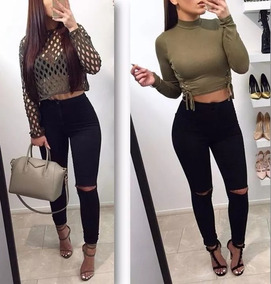 Mujer Pantalón Con Alto Rotura Negro Chupin Jean Tiro l1JcFTK