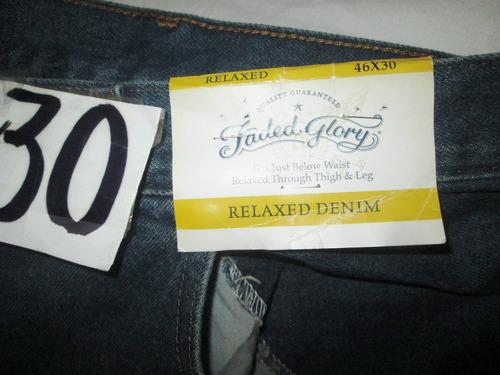 pantalon jeans azul mezclilla de hombre talla 46x30 faded gl