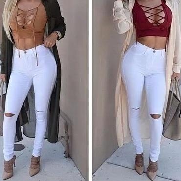 Pantalón Jeans Corte Alto Blanco Y Negro 2018 - Bs. 9.000 266e5e0550e5