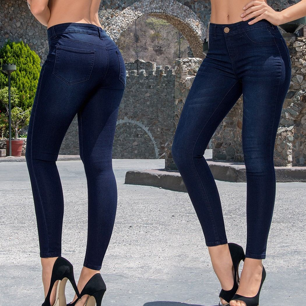 comprar online 89fe6 29d19 Pantalon Jeans Dama Mujer Mezclilla Azul Marino Skinny Ajust