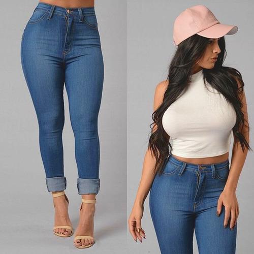 pantalón jeans de mujer chupin tiro alto azul importado