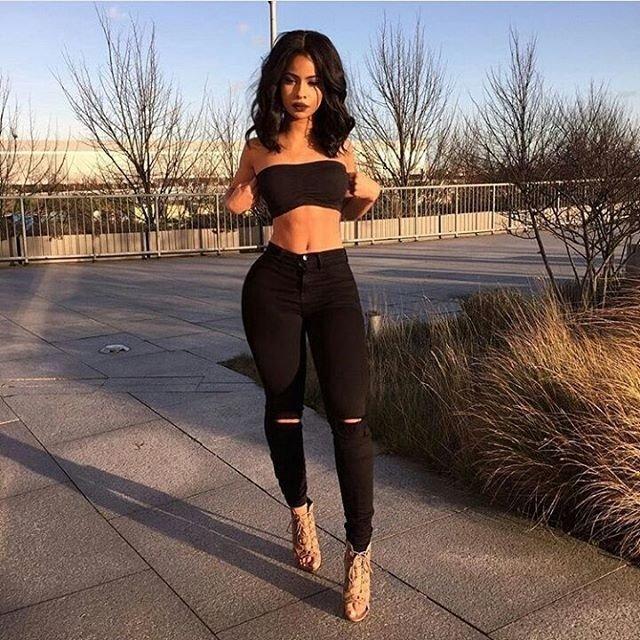 Isabelle Pilier Pantalon Jeans De Mujer Chupin Tiro Alto Con Rotura Negro 1 590 00