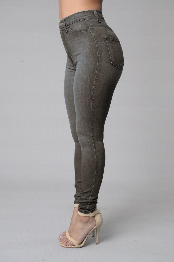 9705cea7e7 Pantalón Jeans De Mujer Chupin Tiro Alto Gris Oscuro -   995