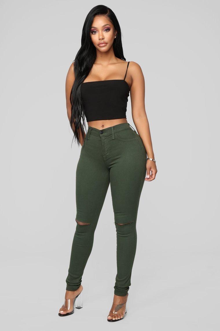 Isabelle Pilier Pantalon Jeans De Mujer Con Roturas En Rodilla Verde Militar 1 690 00
