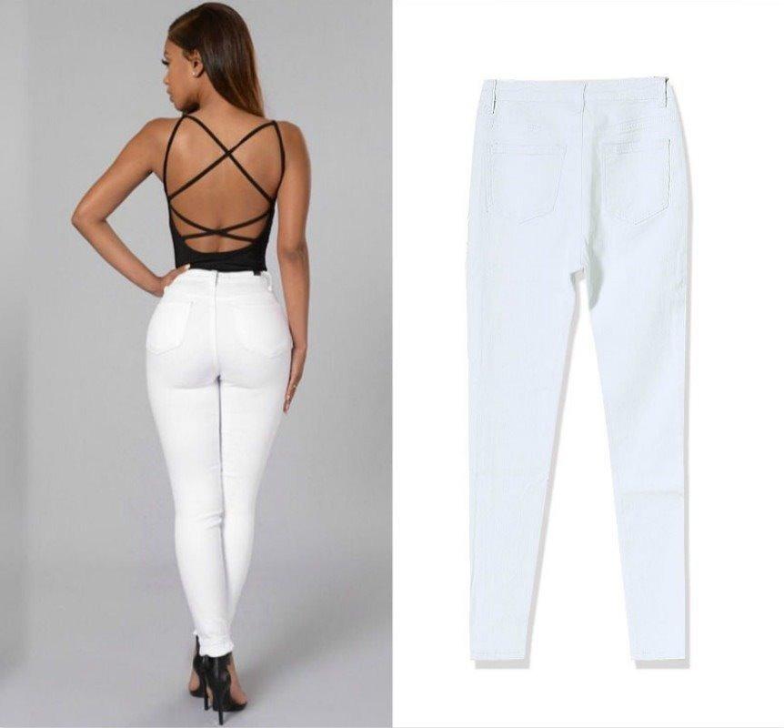 pantalón jeans de mujer tiro alto blanco elastizado. Cargando zoom. 7b04307c0f3d