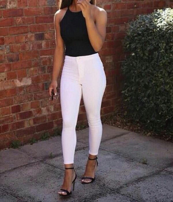 Pantalón Jeans Elastizado Blanco Tiro Alto -   1.100 ddd1f2f0a6a1