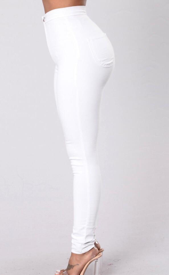 pantalón jeans elastizado blanco tiro alto. Cargando zoom. 77a31df43ed8