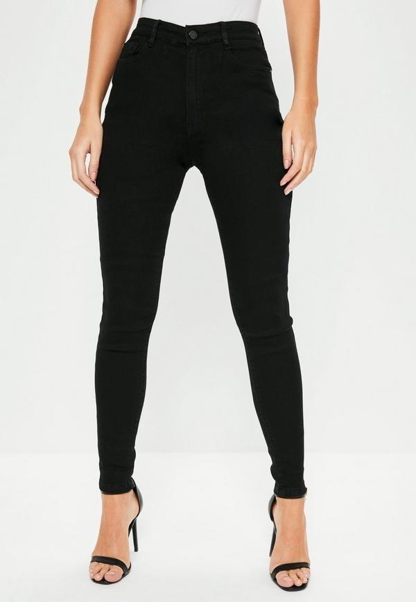 46a46e2e7e pantalon jeans elastizado tiro alto negro. Cargando zoom.