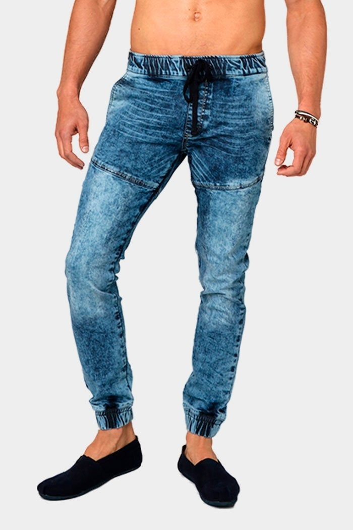 186c6371b1fca pantalon jeans mezclilla jogger hombre resortes jegging azul. Cargando zoom.