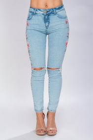 11b852ff Pantalon Jeans Mezclilla Mujer Bordado Deslavado Moda V81107