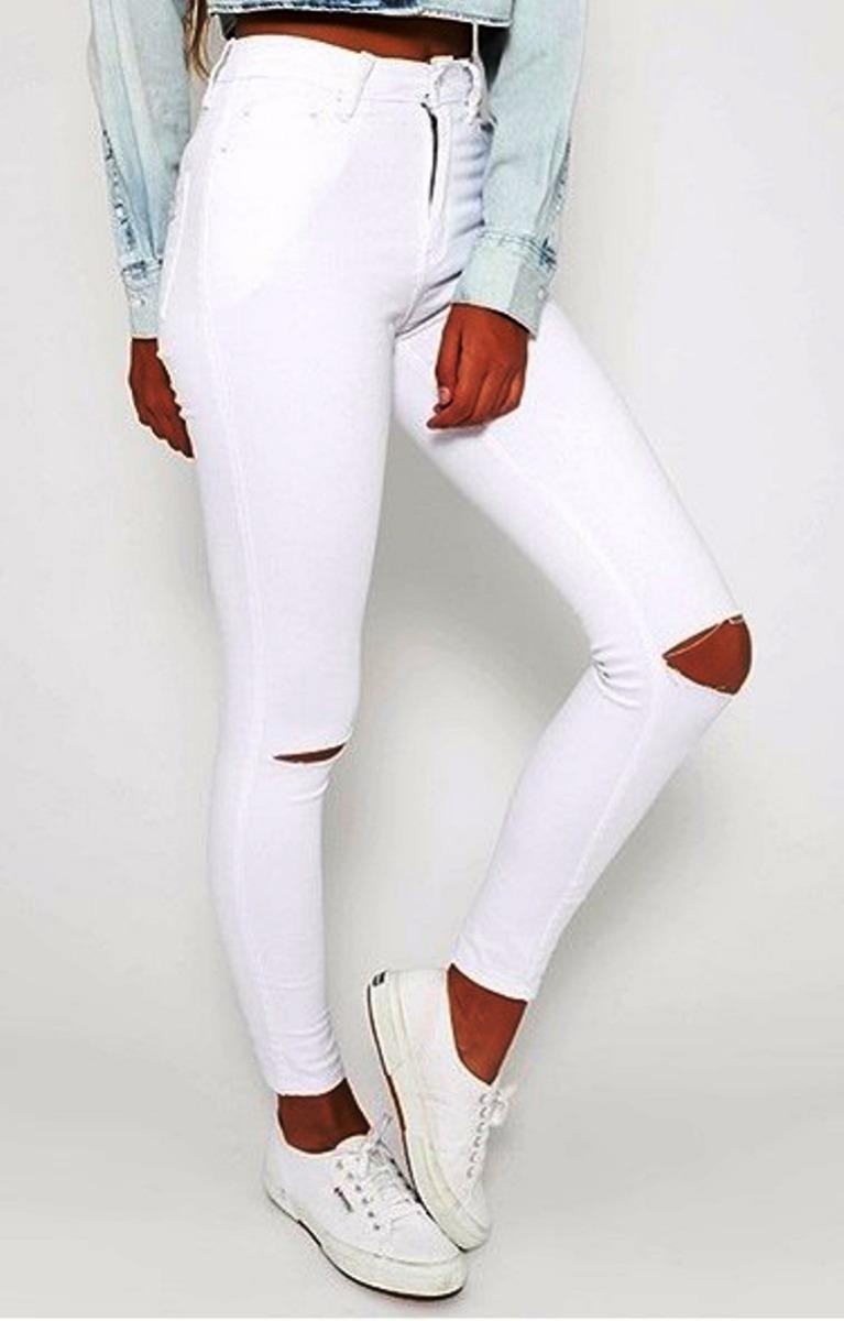 Jeans Ajustado Mujer Blanco Color Pantalón Y76Ifmbgyv