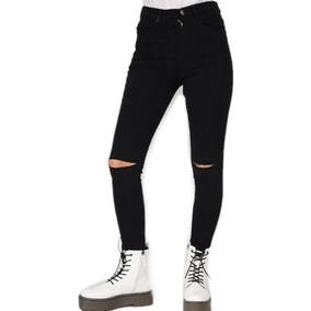 gran descuento reputación primero detallado Pantalon Jeans Mujer Negro Tiro Alto Con Tajo En Rodilla