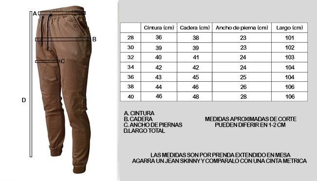 Resultado de imagem para tabela de medidas calça jogger