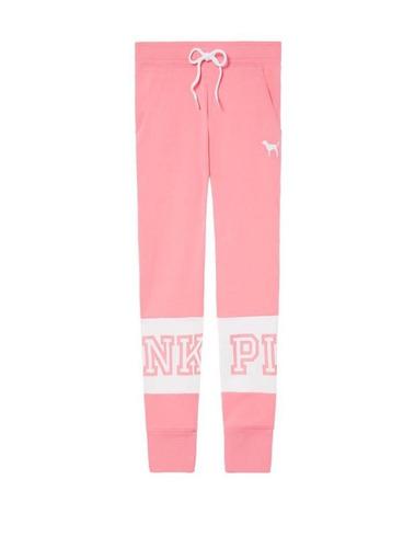 pantalón jogging rosa blanco pink  victoria's secret