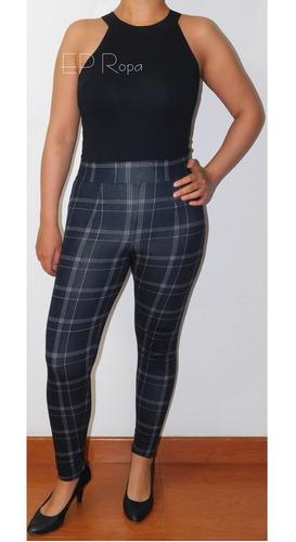 pantalon largo tiro alto rayas cuadros tubo licrado moda