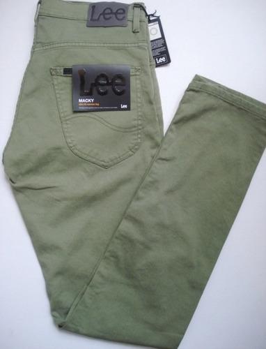 pantalon lee macky chupin verde elastizado super rebajados!!