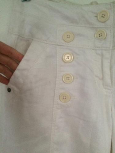 pantalon lino blanco marca antrophologie de ny