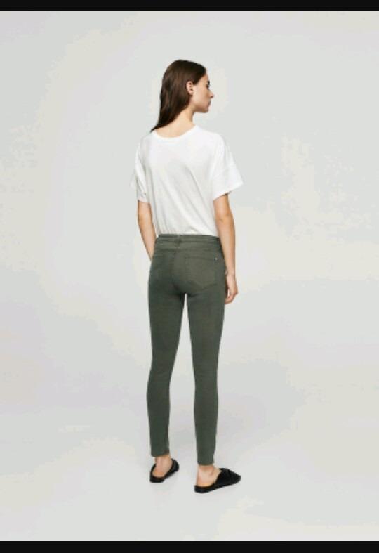 Mujer Talla 36 34 Elastizado Mango Pantalón Skinny Ó Verde f6b7gvYyI
